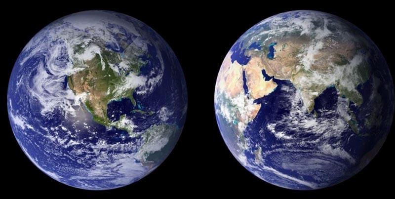 二つに分離尾する地球