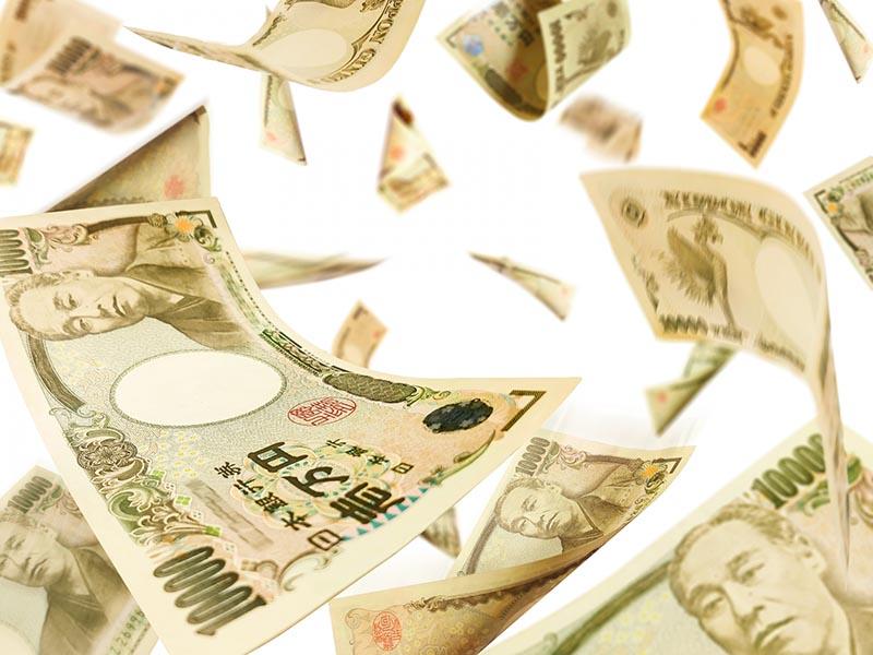 舞い飛ぶお金