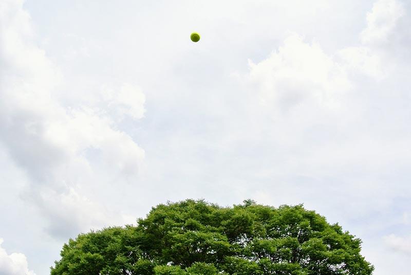 上に上がったボール